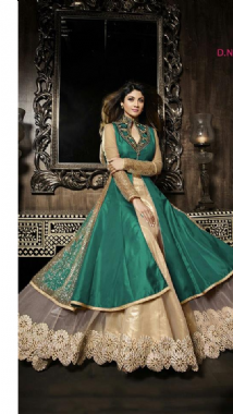 Teal And Beige Lehenga